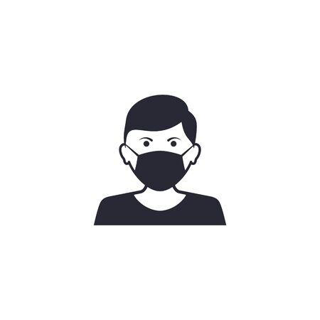 Man face with mask icon vector in trendy flat style isolated on white. Coronavirus protection concept.
