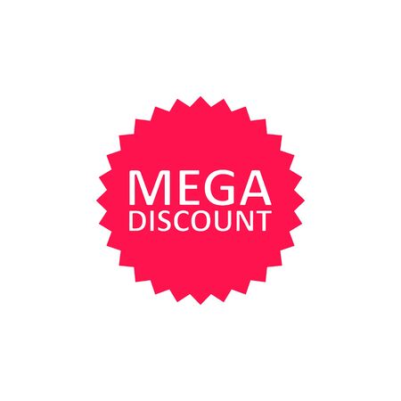 Mega Discount sale tag, label, web banner or poster, Vector business concept icon.  イラスト・ベクター素材