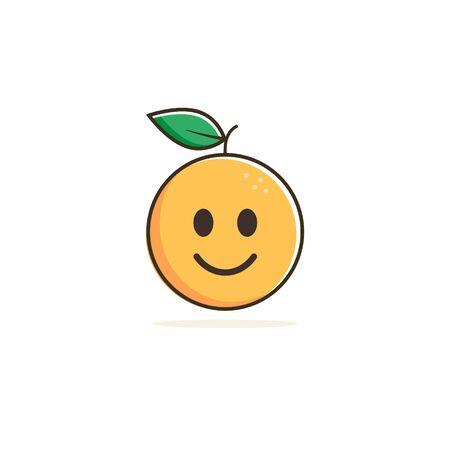 Cute orange fruit cartoon character smiling happy, Vector illustration.