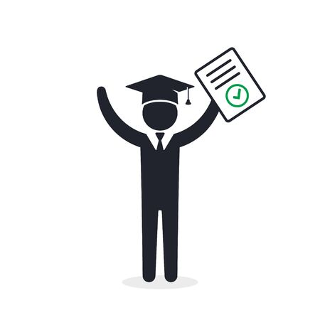 Graduate Student with completed test document. Vector icon isolated on white.