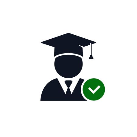 Graduate Student with check mark sign. Vector icon isolated on white.