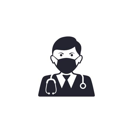 Doctor with mask icon vector. Vector isolated simple illustration.