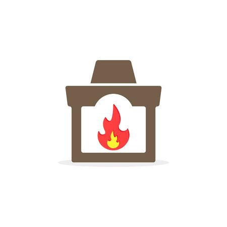 Fireplace icon, Vector isolated flat design color illustration.  イラスト・ベクター素材