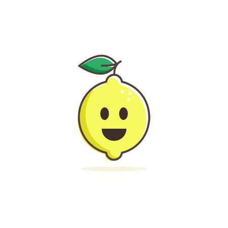 Happy Lemon icon, vector mascot smile flat design.
