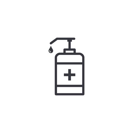Hand sanitizer bottle icon in trendy flat style isolated on white background. Vector illustration.