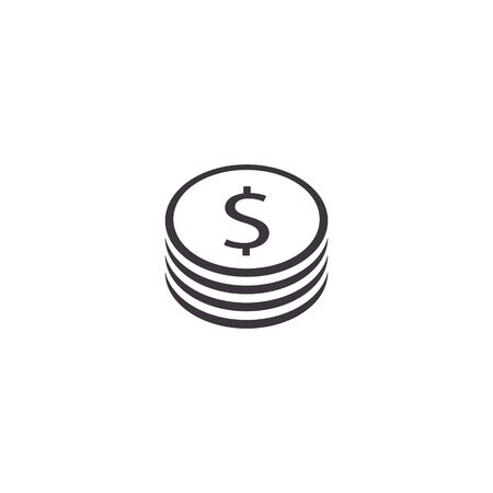Stack of coin icon, Vector isolated simple money illustration.  イラスト・ベクター素材