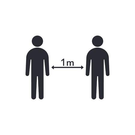 Social distancing between people, Coronovirus epidemic protective distance. Vector illustration.