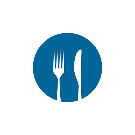 Fork and spoon icon on round, Cutlery symbol graphic design web element. Flat fork symbol on the blue round button. Vector.