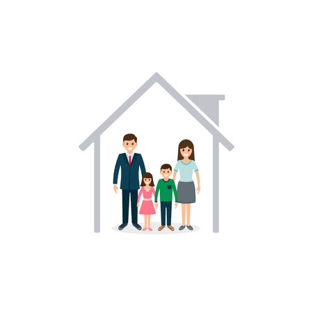 Family at home icon. Vector isolated colorful illustration.  イラスト・ベクター素材
