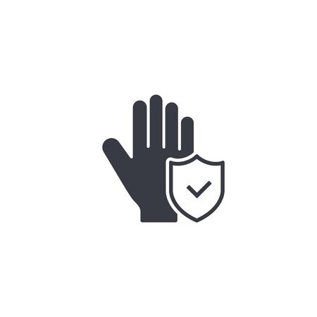 Wash hand or hygiene related hand with protection shield and check mark vector concept.