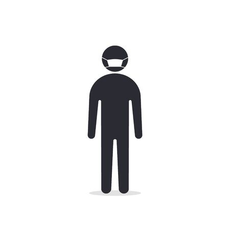 Man with mask icon vector in trendy flat style isolated on white. Coronavirus protection concept.