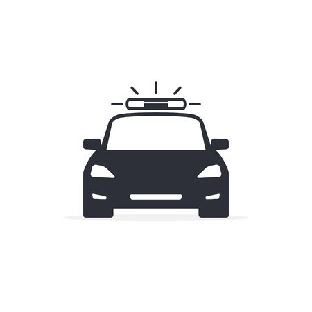 Police Car vector black icon isolated on white.  イラスト・ベクター素材