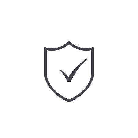 Shield with check mark icon. Vector simple isolated illustration. 일러스트
