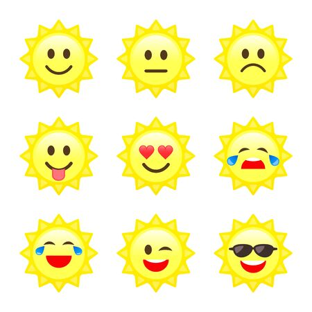 Sun Smile emoji, emoticon cartoon set Vector icons. Different Character or mood on sun smiley face.  イラスト・ベクター素材