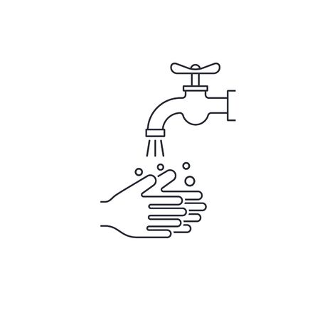 Wash your hands line icon, hygiene concept Vector isolated outline illustration.  イラスト・ベクター素材