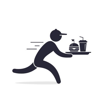 Fast food delivery icon, running Waiter Holding a Tray of Fast Food illustration.