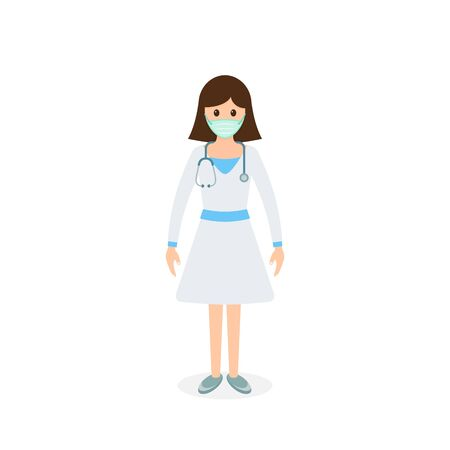 Doctor woman in mask ready surgeon uniform gloves stethoscope icon, Vector isolated color illustration.