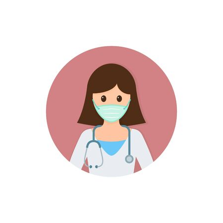 Doctor woman in mask ready surgeon uniform gloves stethoscope icon, Vector illustration isolated on round.