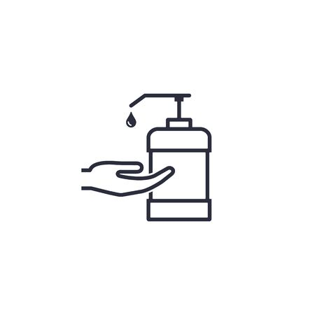 Hand and sanitizer bottle icon in flat style isolated on white background. Vector illustration.