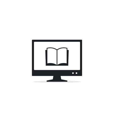 Reading books on the Internet, E-reading, Internet library, online book store, remote education Vector icon.  イラスト・ベクター素材