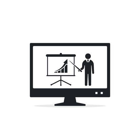 Online education or webinar business presentation icon, flat design, vector illustration.