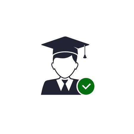 Graduate Student with check mark icon. Vector symbol isolated on white. Stockfoto - 144302499