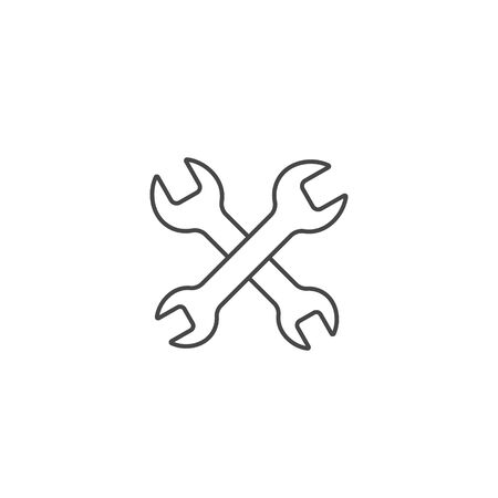 Crossed wrenches line icon, Vector isolated flat design service outline symbol.