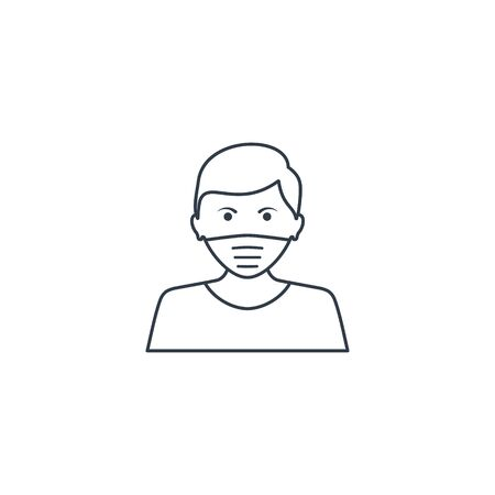 Man face with mask line icon, vector symbol in trendy flat style isolated on white. Coronavirus protection concept.  イラスト・ベクター素材