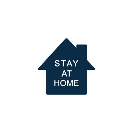 Stay at Home Vector Icon. Simple Vector Sign with House Isolated on a White Background.