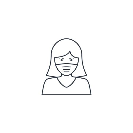 Woman face with mask line icon, vector symbol in trendy flat style isolated on white. Coronavirus protection concept. Stockfoto - 144302513