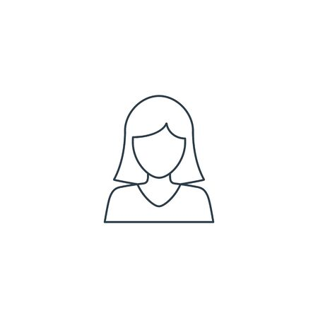 Woman, girl or female line icon. Vector isolated outline sign.