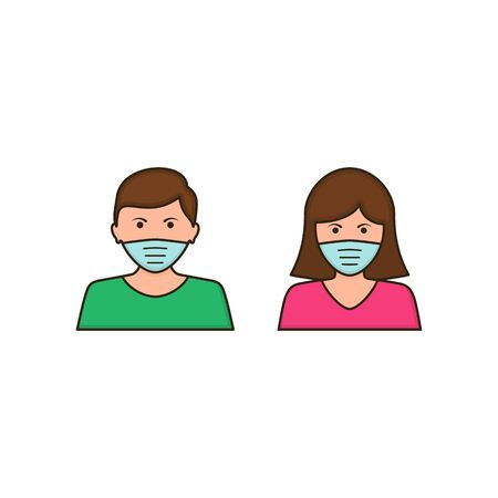 Man and woman face with mask icon, vector symbol in trendy flat style isolated on white. Coronavirus protection concept. Stockfoto - 144302509