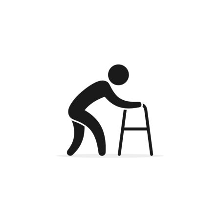 Old man with walker icon, vector isolated illustration.  イラスト・ベクター素材