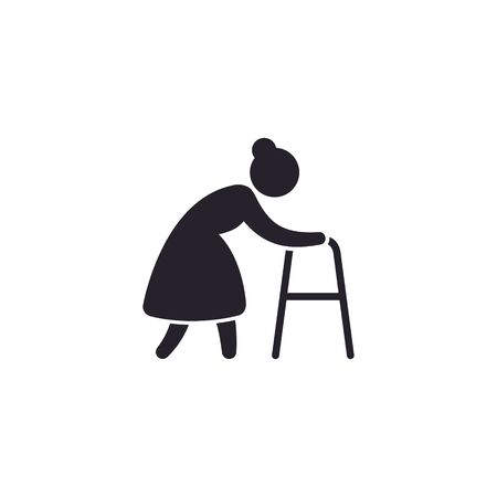 Old woman with walker icon, vector isolated illustration.