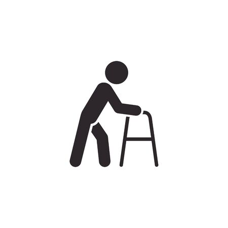 Old man with walker icon, elder symbol vector isolated illustration.