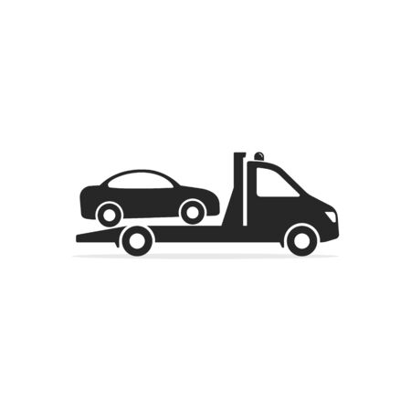Tow truck icon, Towing truck van with car sign. Vector isolated flat illustration. Archivio Fotografico - 144647133