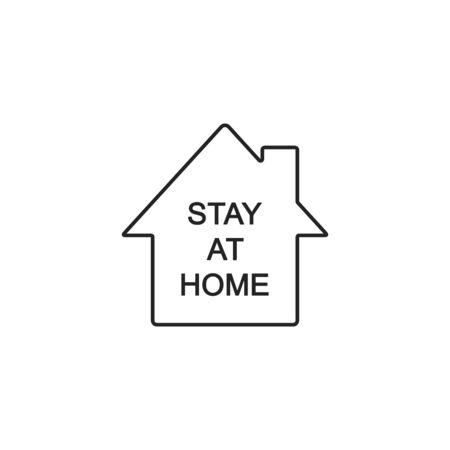 Stay at Home Vector line Icon. Simple Vector Sign with House Isolated on a White. Stockfoto - 144790671