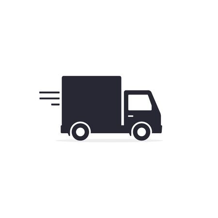 Delivery truck icon, van symbol, minibus isolated on white background. Vector black illustration.  イラスト・ベクター素材