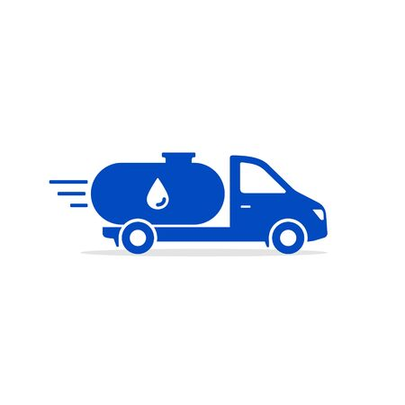 Water Delivery icon, tank Truck Icon,  flat Design symbol. Vector.