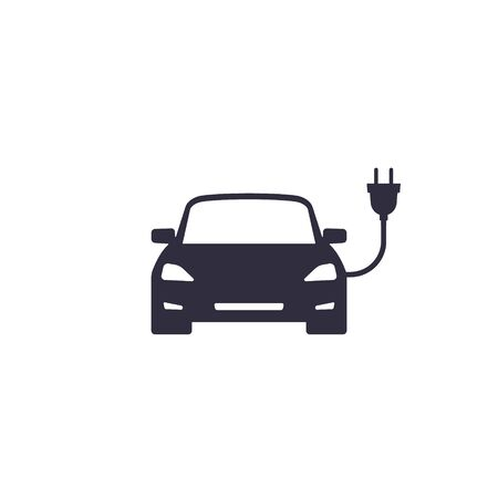 Electric car with plug icon, Vector isolatred illustration.