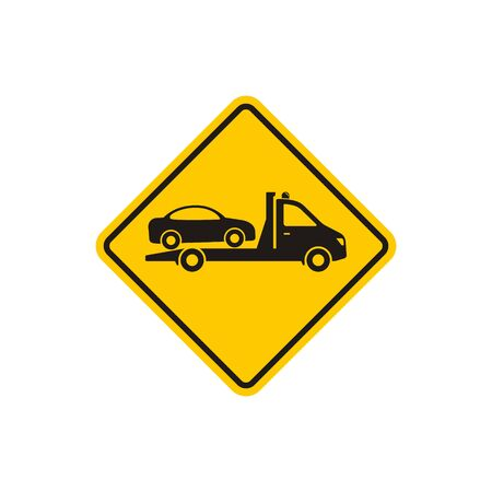 Tow truck road sign, Towing truck van with car icon. Vector isolated flat illustration.