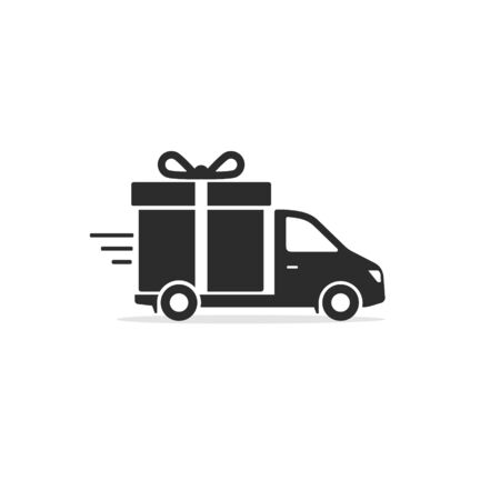 Free Delivery truck with gift box Icon. Vector flat style illustration isolated on white.  イラスト・ベクター素材