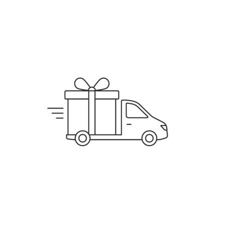 Free Delivery truck with gift box line Icon. Vector flat style illustration isolated on white.  イラスト・ベクター素材