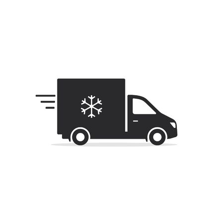 Refrigerator truck icon, Fridge delivery truck symbol. Vector isolated illustration.