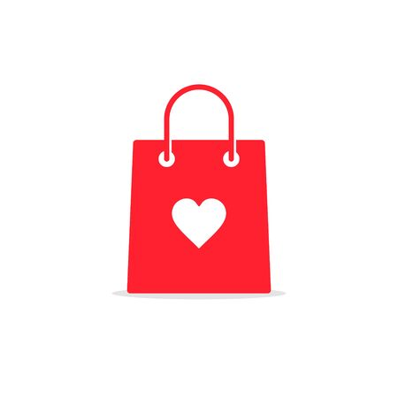 Shopping bag with heart icon vector, I love shopping concept.