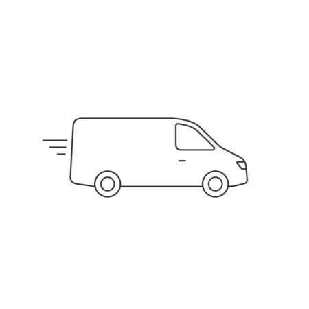 Delivery Van truck line icon, minibus isolated on white background. Vector outline illustration.