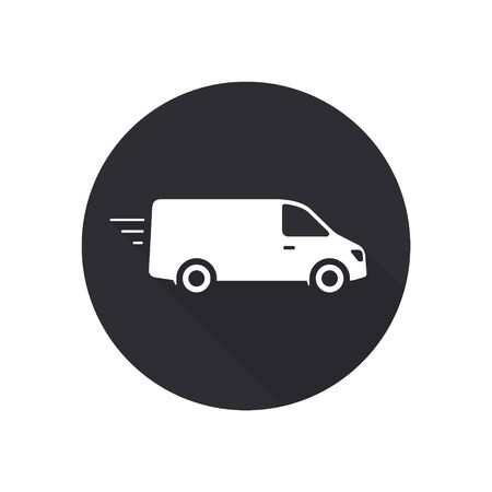Delivery Van truck icon, minibus isolated on black round background with long shadow. Vector flat illustration. Stockfoto - 145208753