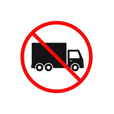 No truck or no parking sign. Vector isolated illustration.  イラスト・ベクター素材