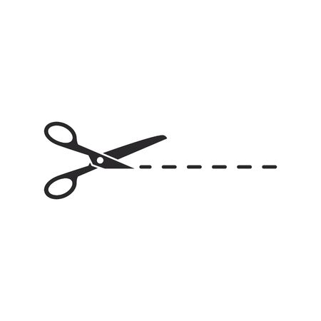Scissors with cut line icon isolated on white background. Vector.