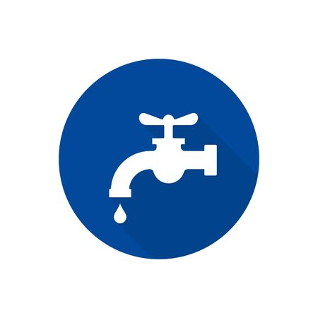 Water tap with falling drop icon isolated on circle button. Vector water crane illustration flat design.  イラスト・ベクター素材